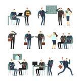 De werkende karakters van het mensen vectorbeeldverhaal Werknemersvrouwen en mannen in bureau, medewerkers voor bedrijfsconcept Royalty-vrije Stock Foto's