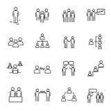 De werkende mensen en Organisatie dun vastgestelde vector van het lijnpictogram teken Stock Foto's