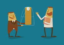 De werkgever biedt bonus aan werknemer aan stock illustratie