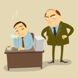 De werkgever is boos voor de het werktijd van de werknemer Stock Fotografie