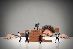 De werkgever bouwt een commercieel team stock afbeelding