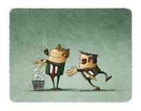 De werkgever breekt een contract en werpt het in de bak terwijl de werknemer achter verrast is royalty-vrije illustratie