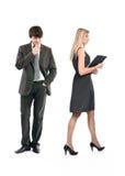 De werkgever lastig valt de secretaresse Stock Foto's