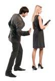 De werkgever lastig valt secretaresse Stock Afbeelding