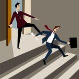 De werkgever schopte uit werknemer van het bureau Royalty-vrije Stock Fotografie
