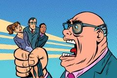 De werkgever schreeuwt bij ondergeschikten stock illustratie