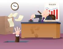 De werkgever stak zijn werknemer in brand Royalty-vrije Stock Afbeelding