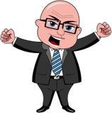 De Werkgever van zakenmanbald cartoon angry Stock Foto's