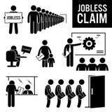 De werkloze eist Werkloosheidsuitkeringen Clipart Royalty-vrije Stock Afbeelding
