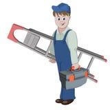 De werkman of het manusje van alles die zich met ladder en toolbox bevinden Royalty-vrije Stock Afbeelding