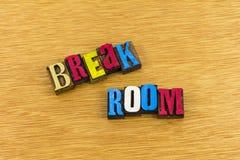 De werkplaats breakroom ontspant letterzetsel Stock Fotografie