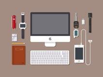 De werkruimte van het bureau Hoogste mening van de achtergrond van de bureauwerkplaats met computer, vlak ontwerp Stock Afbeelding
