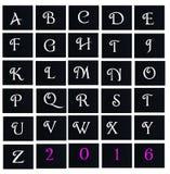 De werktijd van de alfabetbrief in zwarte raad Royalty-vrije Stock Foto's