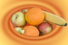 De werveling van het fruit stock afbeelding