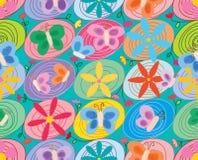 De wervelingscirkel verbindt de vlinder naadloos patroon van de bloemolie stock illustratie