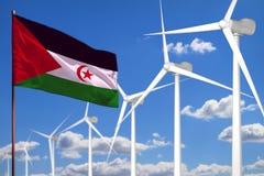 De westelijke alternatieve energie van de Sahara, het industriële concept van de windenergie met windmolens en vernieuwbare vlag  stock illustratie