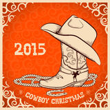 De westelijke kaart van de Nieuwjaargroet met cowboyvoorwerpen Stock Foto's