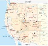 De westelijke kaart van Verenigde Staten Royalty-vrije Stock Afbeeldingen