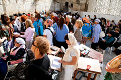 De westelijke of Loeiende Muur in Jeruzalem, Israël Royalty-vrije Stock Foto