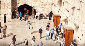 De westelijke of Loeiende Muur in Jeruzalem, Israël Royalty-vrije Stock Afbeeldingen
