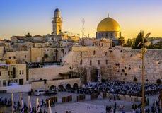 De Westelijke Muur en de Gouden Koepelmoskee, Jeruzalem, Israël Royalty-vrije Stock Afbeeldingen