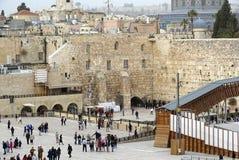 De westelijke muur Jeruzalem met Tempel zet op stock fotografie