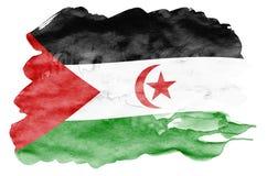 De westelijke vlag van de Sahara wordt in vloeibare die waterverfstijl afgeschilderd op witte achtergrond wordt geïsoleerd vector illustratie