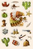De westelijke wilde geplaatste stickers van de het westenkunst Kanon, kogels, cactussen en veel andere punten vector illustratie