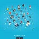 De wetenschap integreerde 3d Webpictogrammen Digitaal netwerk isometrisch concept Stock Afbeelding