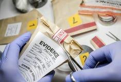De wetenschappelijke politie opent met schaar een zak bewijsmateriaal van een misdaad in wetenschappelijk laboratorium stock fotografie