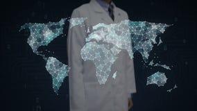 De wetenschapper, ingenieur wat betreft Punten verzamelt zich om globale wereldkaart, Internet van dingen te creëren Financi?le T vector illustratie