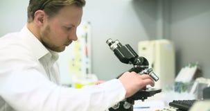 De wetenschapper kijkt door Microscoop en het Schrijven Gegevens over Tablet stock videobeelden