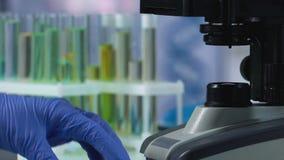 De wetenschapper laat vallen reagens glas met pipet glijden om onder microscoop te onderzoeken stock footage