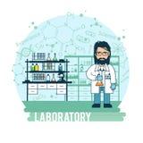 De wetenschapper in laboratoriumexperimenten werd geleid stock illustratie