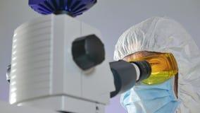 De wetenschapper onderzoekt een steekproef van bacteri?n onder de microscoop stock videobeelden