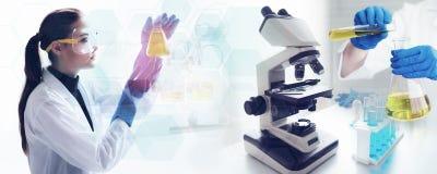 De wetenschapper test en doet laboratoriumsteekproef met microscoop in La stock afbeeldingen