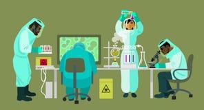 De wetenschappers in beschermende kostuums werken met biogevaarlijke stoffen De virologen voeren onderzoek naar uit royalty-vrije illustratie