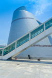 De Wetenschapscentrum van Macao, een distinctief, asymmetrisch, kegelvormgebouw met een spiraalvormige gang, Macao modern stock foto