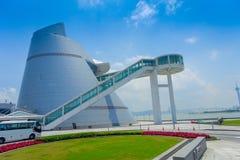 De Wetenschapscentrum van Macao, een distinctief, asymmetrisch, kegelvormgebouw met een spiraalvormige gang, Macao modern stock foto's