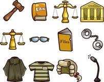 De wetspictogrammen van het beeldverhaal Stock Foto's