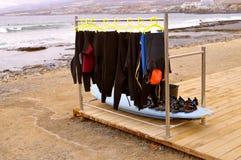 De wetsuiten van het Playade Las Amerika strand Royalty-vrije Stock Fotografie