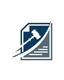 De wettelijke samenvatting van de het ontwerpzakelijke verzekering van het boekhoudingsembleem Stock Foto