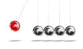 De wieg van Newton met één rode bal Royalty-vrije Stock Afbeeldingen