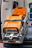De wiel-draagstoel van de close-up in ziekenwagen Stock Foto's