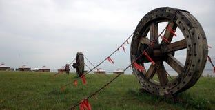 De wielen en yurt het dorp van de wagen Stock Foto's