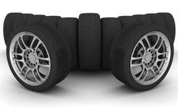 De wielen van de auto futuristic spuit met lcd het scherm Stock Fotografie