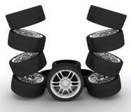 De wielen van de auto futuristic spuit met lcd het scherm Stock Afbeeldingen
