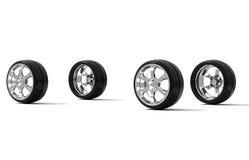 De wielen van de auto op witte achtergrond Royalty-vrije Stock Afbeeldingen