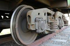 De wielen van de treinaandrijving Stock Foto's