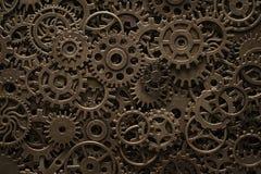 De wielen van het messingsradertje, steampunk achtergrond stock foto's